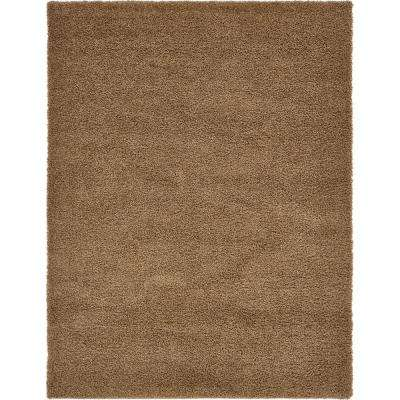 Solid Shag Sandy Brown 12 ft. x 15 ft. Area Rug