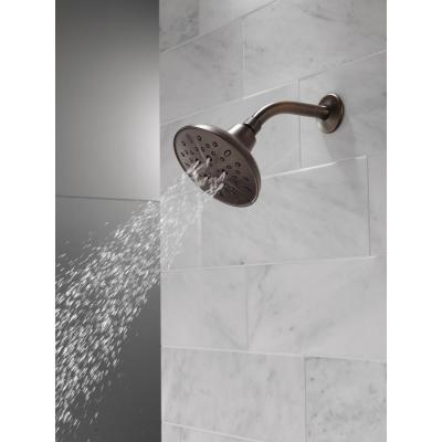 5-Spray 6 in. Single Wall Mount Fixed Shower Head in SpotShield Venetian Bronze
