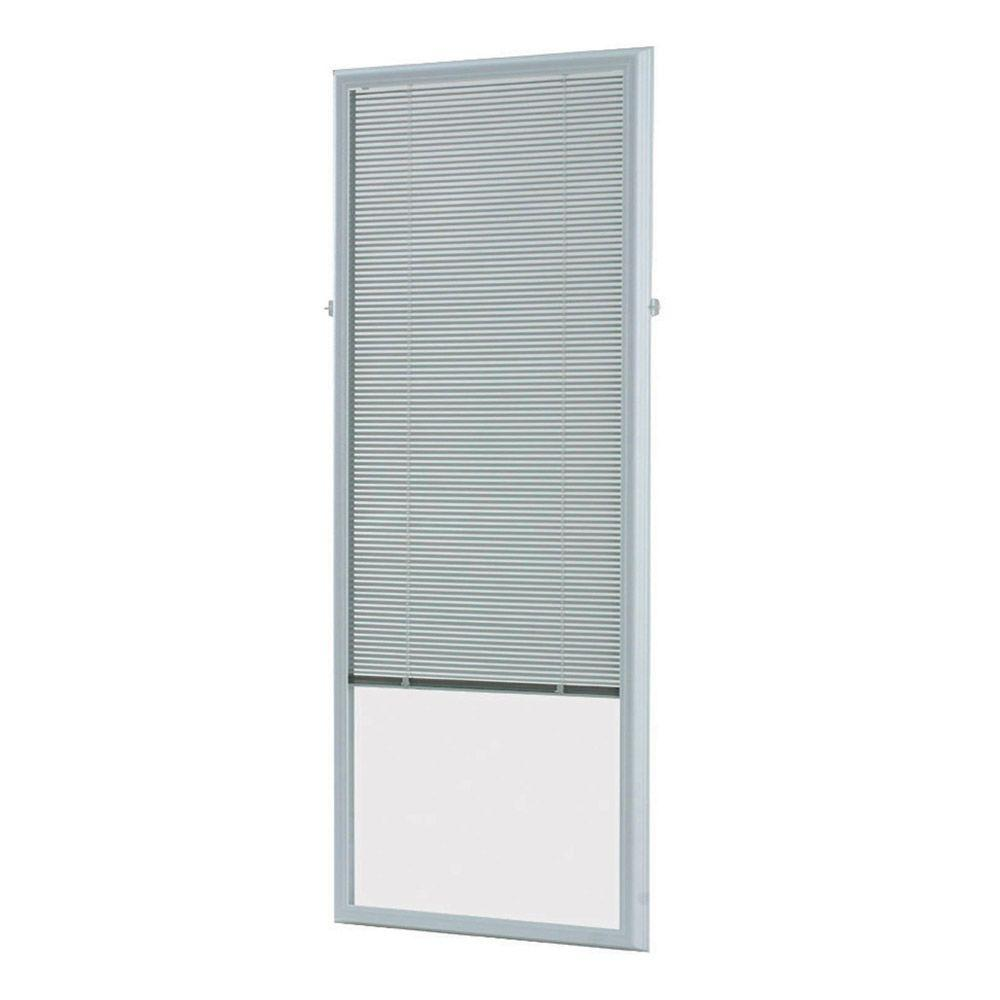 White Cordless Add On Enclosed Aluminum Blinds with 1/2 in. Slats,