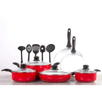 15-Pieces Nonstick Red Ceramic Cookware Set with Lids and Utensils