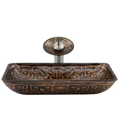 Rectangular Glass Vessel Sink in Golden Greek with Waterfall Faucet Set in Brushed Nickel