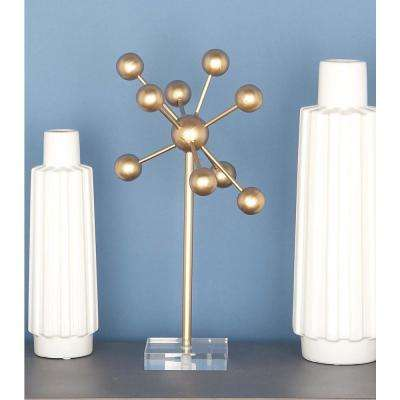 18 in. x 9 in. Abstract Molecule-Inspired Sculpture in Gold-Finished Iron
