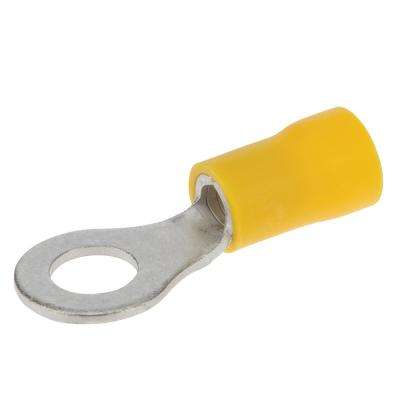 12-10 AWG Vinyl Insulated Ring Terminal Stud, Yellow (50-Pack)