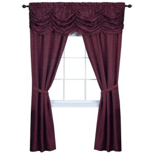 Panache 55 in. W x 63 in. L Polyester Light Filtering 5 Piece Window Curtain Set in Burgundy