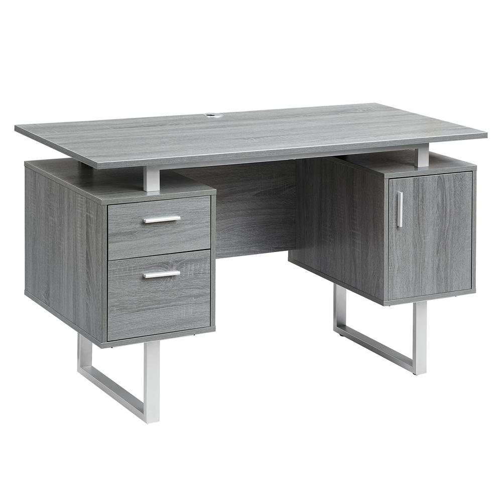 Techni Mobili Gray Modern Office Desk With Storage
