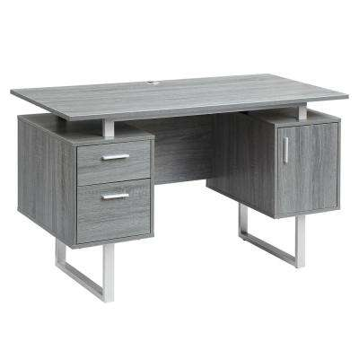 Gray Modern Office Desk with Storage