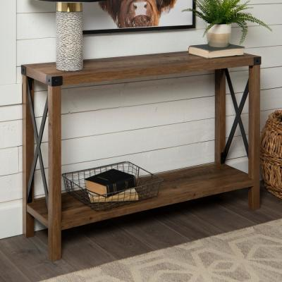 46 in. Rustic Oak Urban Industrial Farmhouse Metal X Entry Table