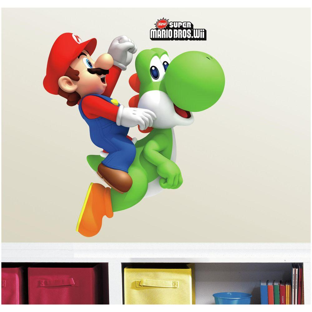 RoomMates 5 in. W x 19 in. H Yoshi/Mario 9-Piece Peel and...