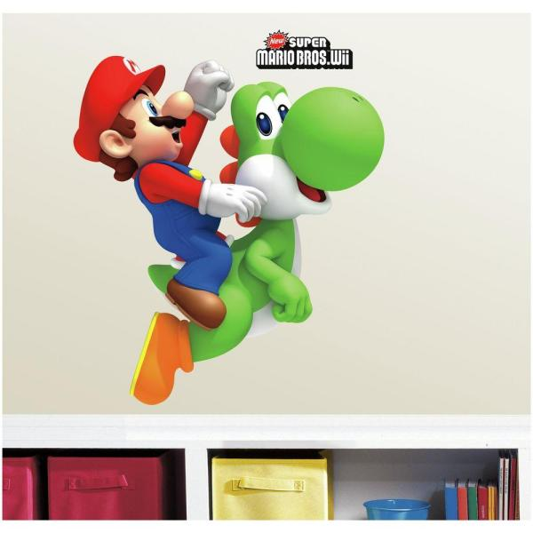 5 in. W x 19 in. H Yoshi/Mario 9-Piece Peel and Stick Giant Wall Decal