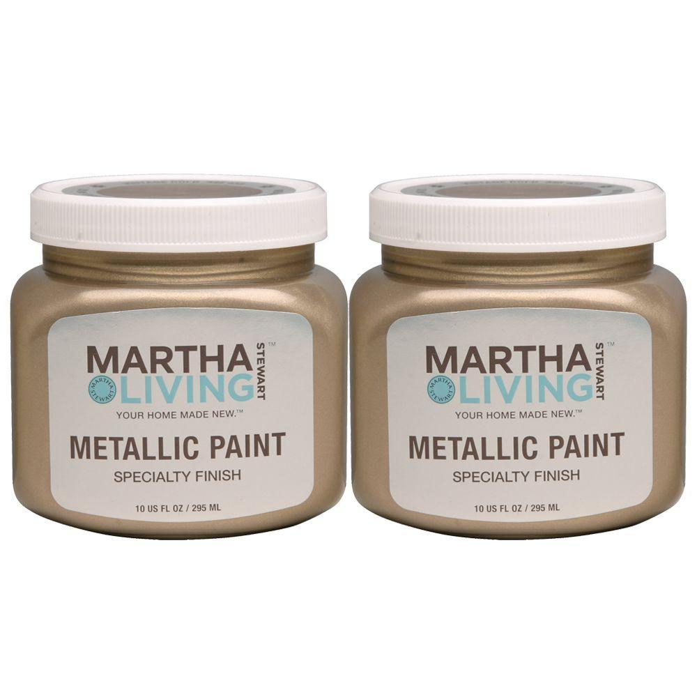 Martha Stewart Living 10 oz. Metallic Vintage Gold Paint (2-Pack)-DISCONTINUED
