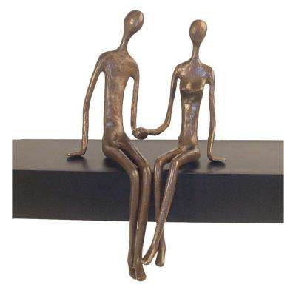 Sitting Couple Cast Human Figure Bronze Sculpture