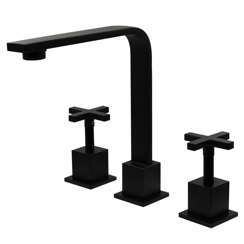 MULD 8 in. Widespread 2-Handle Lavatory Bathroom Faucet in Matte Black