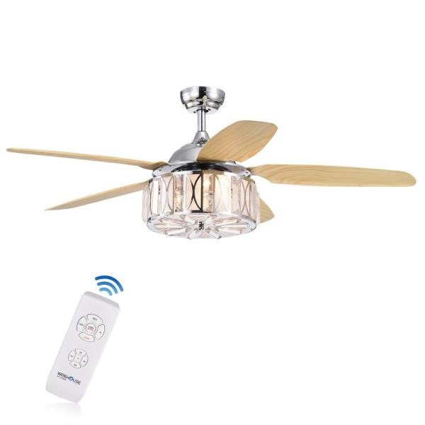 Sekspil 52 in. Indoor Chrome Finish Remote Controlled Ceiling Fan with Light Kit