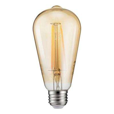 40-Watt Equivalent ST19 Dimmable Indoor/Outdoor Vintage Glass Edison LED Light Bulb Amber Warm White (2000K) (4-Pack)