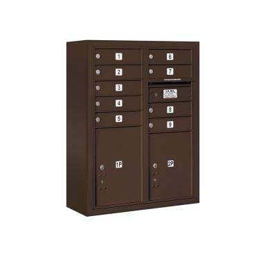 3800 Horizontal Series 9-Compartment with 2-Parcel Locker Surface Mount Mailbox