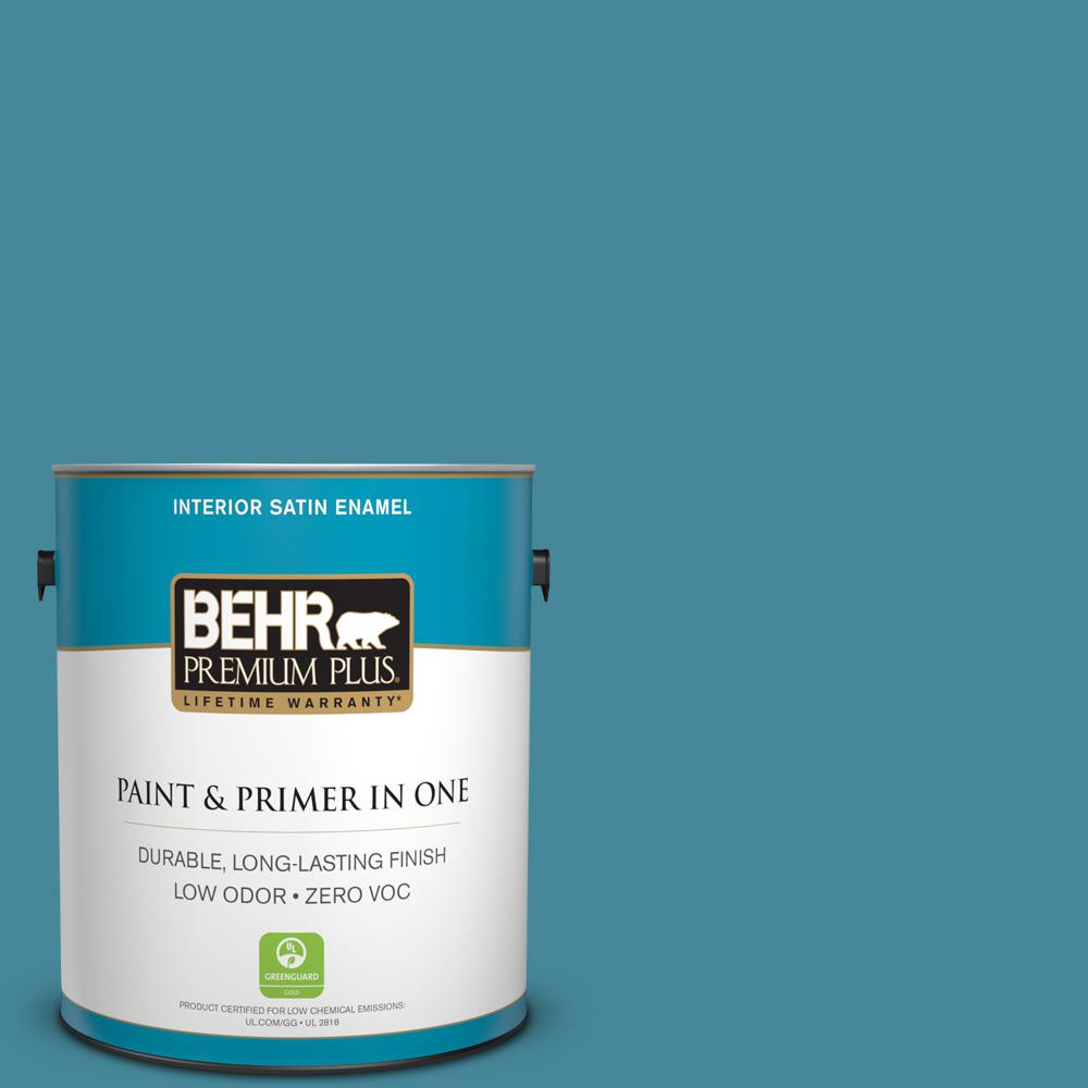 1-gal. #S460-5 Blue Square Satin Enamel Interior Paint