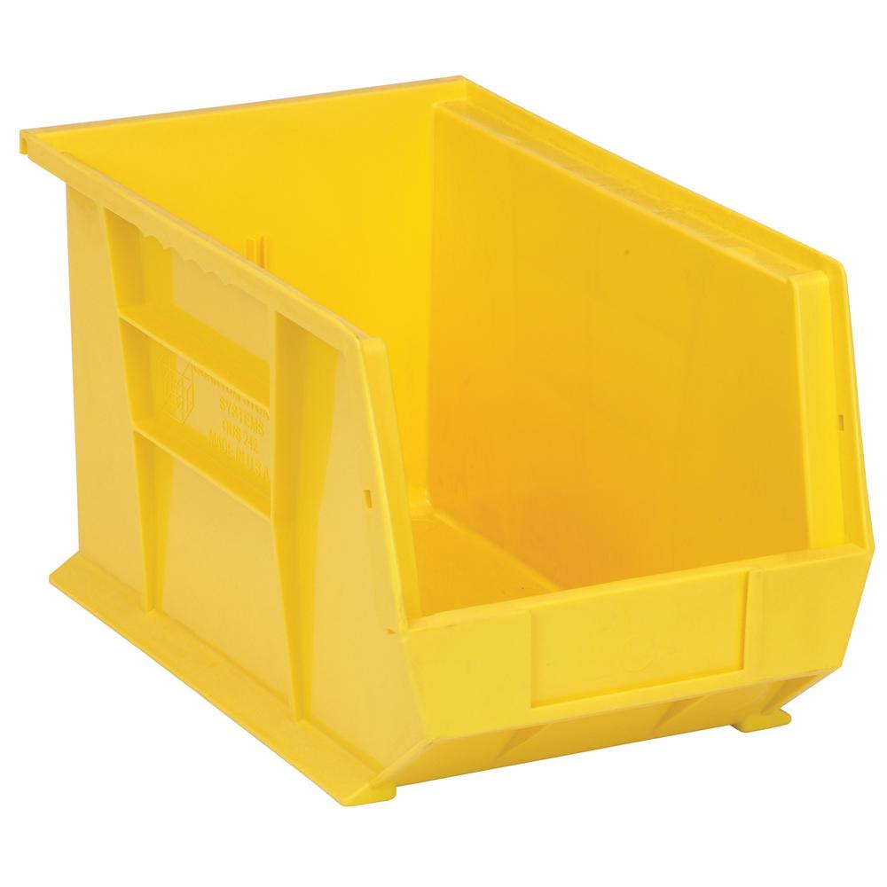 Quantum Storage Systems 7 Gal. Ultra-Series Stack and Hang Storage Bin, Yellow (12-Pack)