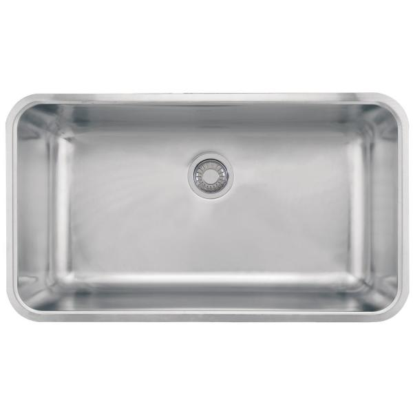 Franke Grande Undermount Stainless Steel 32 75 In X 18 75 In Single Bowl Kitchen Sink Gdx11031 The Home Depot