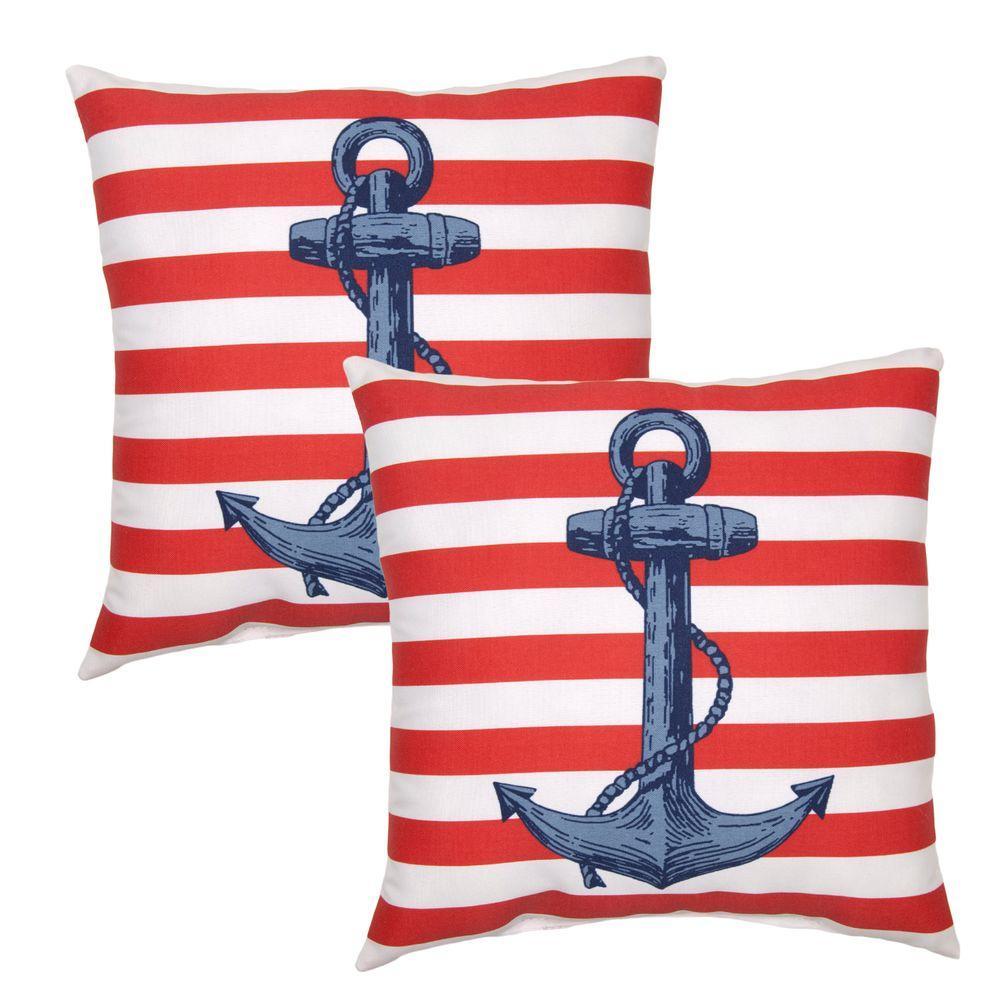 Hampton Bay 16 inch Anchor Patriot Outdoor Toss Pillow (2-Pack) by Hampton Bay