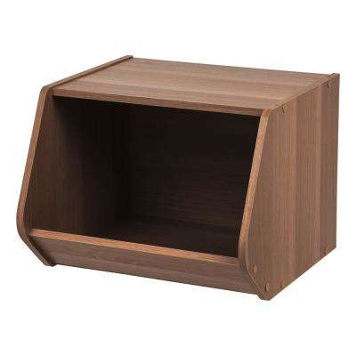 Dark Brown Modular Wood Stacking Open Storage Box