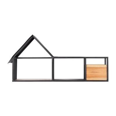 14 in. H x 28 in. W x 8 in. D Home Decorators Collection Wood and Black Metal Wall-Mount Floating Shelf