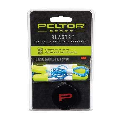 Peltor Sport Blasts Neon Yellow Corded Disposable Earplugs ((2 Pair-Pack)(Case of 10))