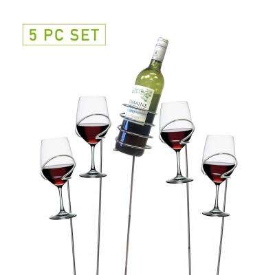 Picnic Wine Bottle and Glass Holder Stemware Organizer Sticks Set (5-Piece)