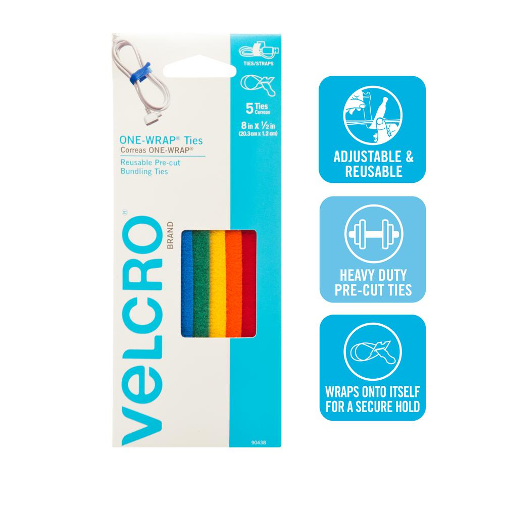 VELCRO Brand 8 in. x 1/2 in. Multi-Color One-Wrap Straps (5-Pack)