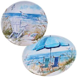Ocean View 2-Piece Coastal Multi-colored Melamine Outdoor 14 and 18 in. Platter Set