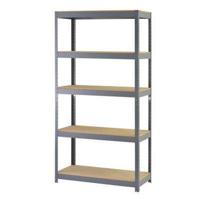 72 in. H x 36 in. W x 18 in. D 5-Shelf Steel Boltless Particle Board Shelving Unit in Gray