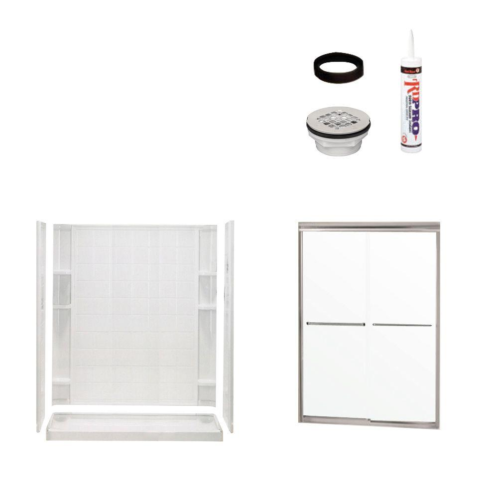 STERLING Ensemble Tile 34 in. x 60 in. x 75-3/4 in. Shower Kit with Shower Door in White/Chrome-DISCONTINUED