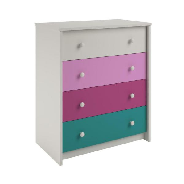 Ameriwood Home Valentine 4-Drawer White, Pink and Turquoise Whimsy Chest