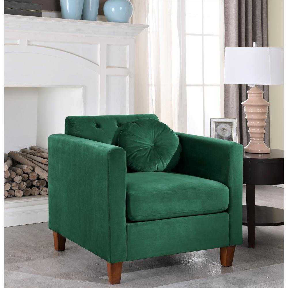 Lowery velvet Kitts Classic Chesterfield Chair Green