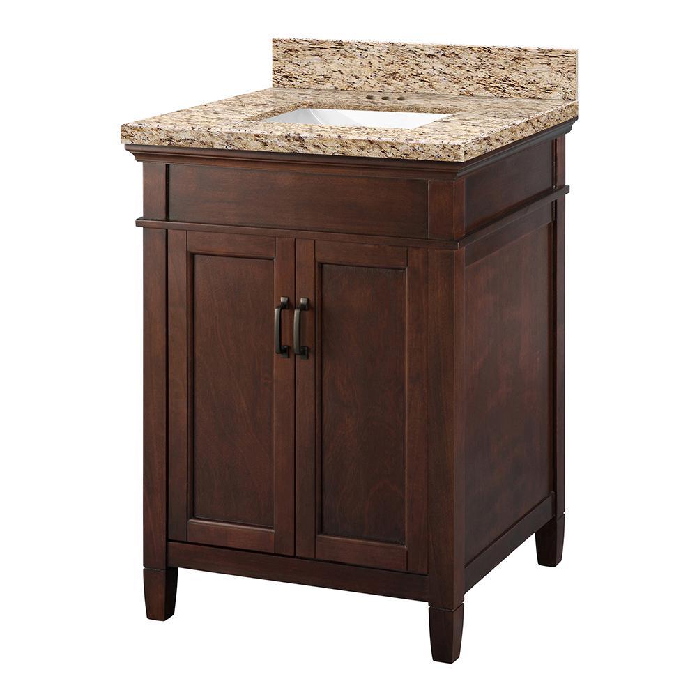 Ashburn 25 in. W x 22 in. D Vanity Cabinet in Mahogany with Granite Vanity Top in Giallo Ornamental with White Sink