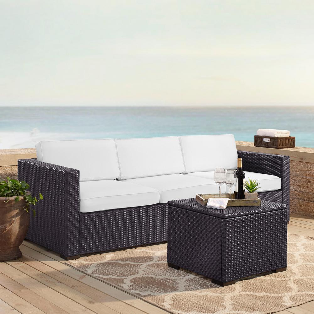 Outstanding Crosley Biscayne 3 Person Wicker Outdoor Seating Set With White Cushions 1 Loveseat 1 Corner And Coffee Table Dailytribune Chair Design For Home Dailytribuneorg