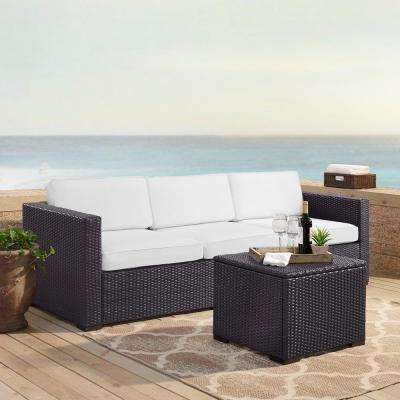 Biscayne 3-Person Wicker Outdoor Seating Set with White Cushions - 1 Loveseat, 1 Corner and Coffee Table