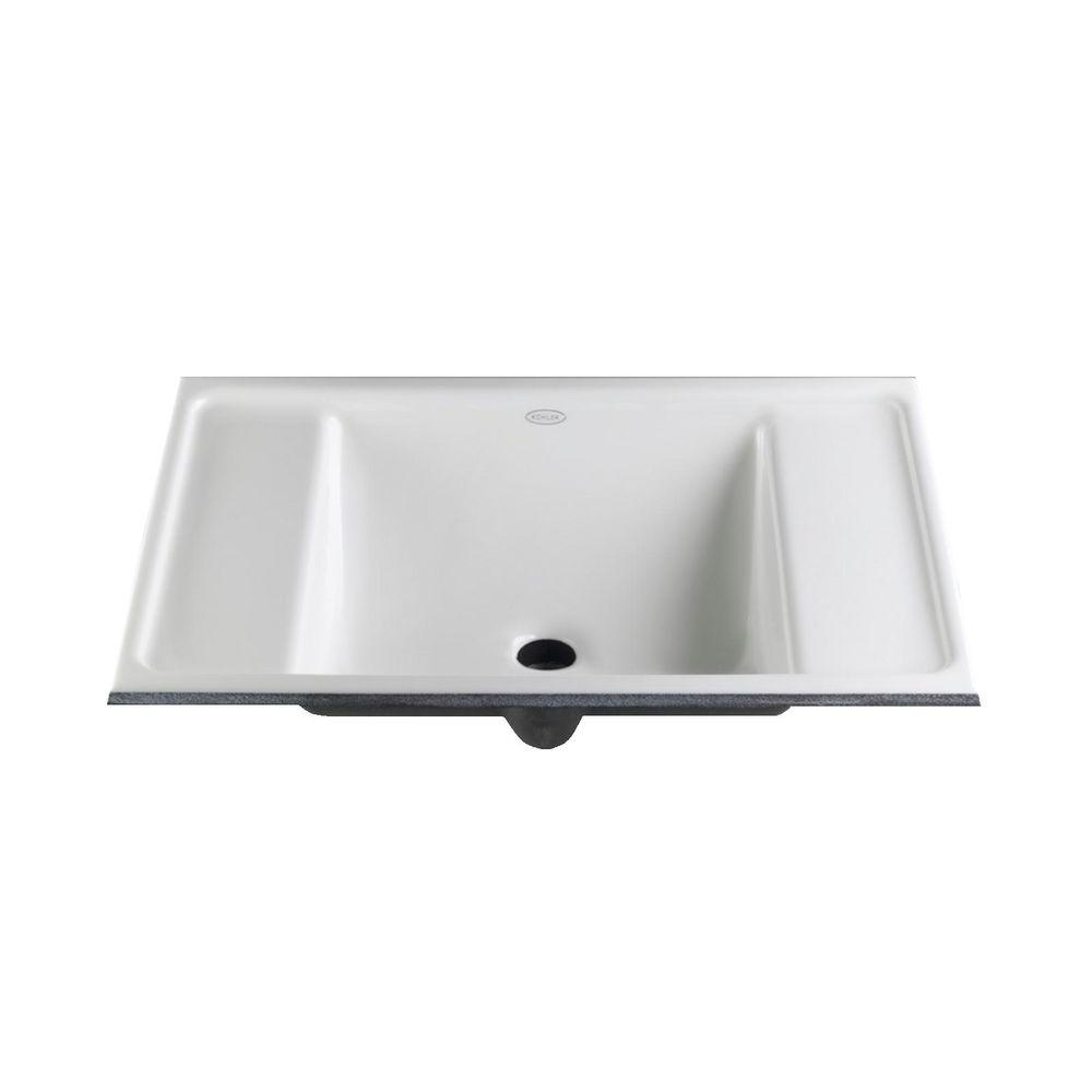 Kohler ledges undermount cast iron bathroom sink in white with overflow drain k 2838 0 the Kohler cast iron bathroom sink