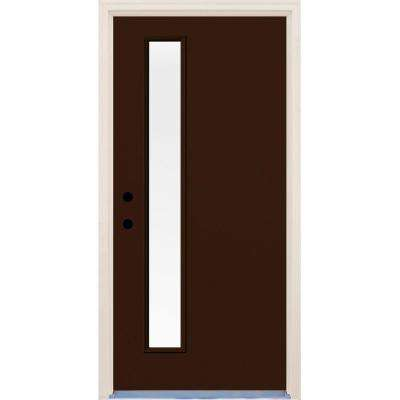 36 in. x 80 in. Right-Hand Earthen 1 Lite Clear Glass Painted Fiberglass Prehung Front Door with Brickmould