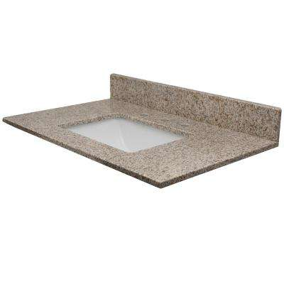 61 in. W x 22.5 in. D Granite Vanity Top in Wheat with Rect White Basin