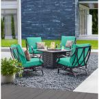 Highland Point Black Pewter 5-Piece Aluminum Outdoor Patio Fire Pit Set with CushionGuard Seaglass Turquoise Cushions