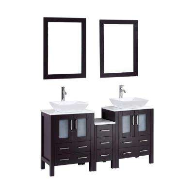 Ouriel 60 in. Double Vanity in Espresso with Marble Vanity Top in White and Mirror