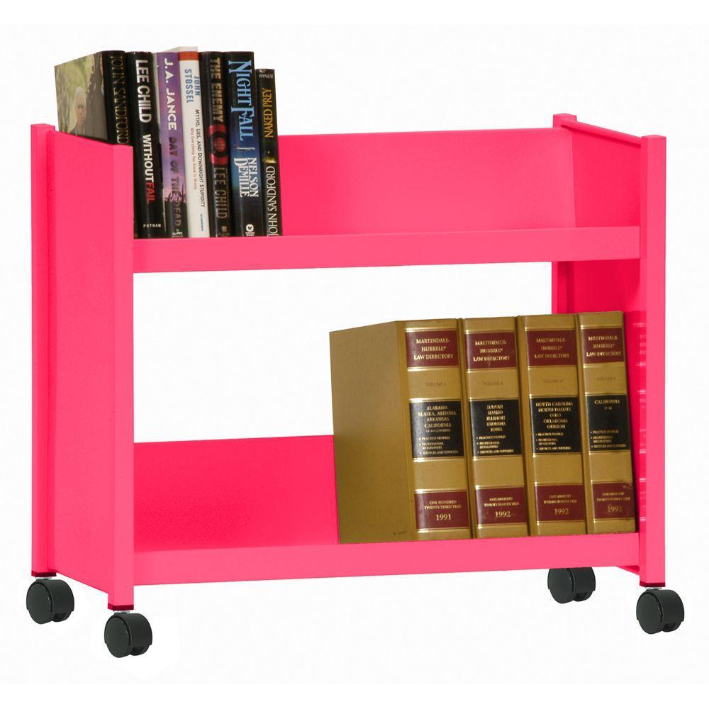Sandusky Sloped 2-Shelf Welded Booktruck in Pom Pom Pink