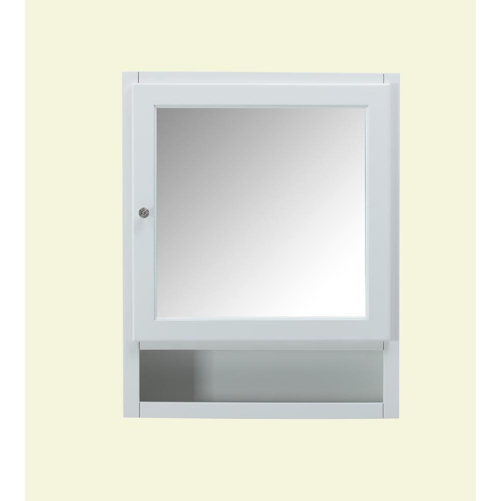 finest selection 0f1b1 0df52 Home Decorators Collection Ridgemore 24 in. x 30 in. x 6.5 in. Makeup  Mirrored Wall Cabinet in White