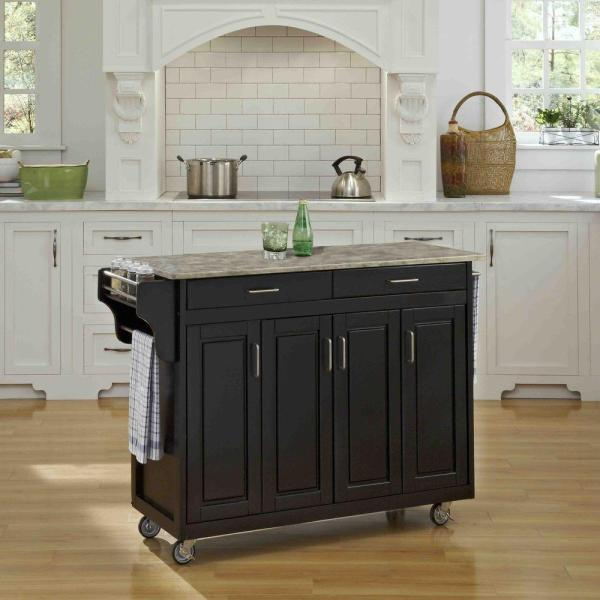 Home Styles Create-a-Cart Black Kitchen Cart With Concrete Top