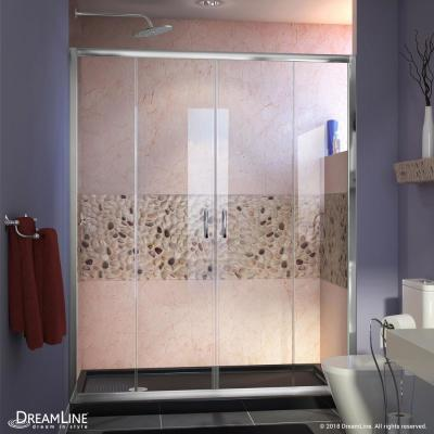 Visions 60 in. W x 30 in. D x 74-3/4 in. H Semi-Frameless Shower Door in Chrome with Black Base Left Drain