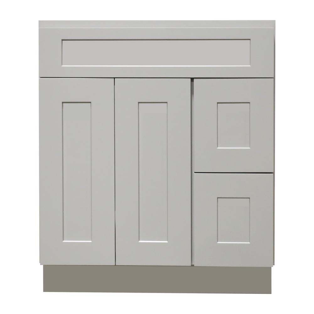 Plywell Ready To Emble Shaker 36 In W X 21 D 34 5 H Vanity Cabinet With 2 Doors And Drawers Gray