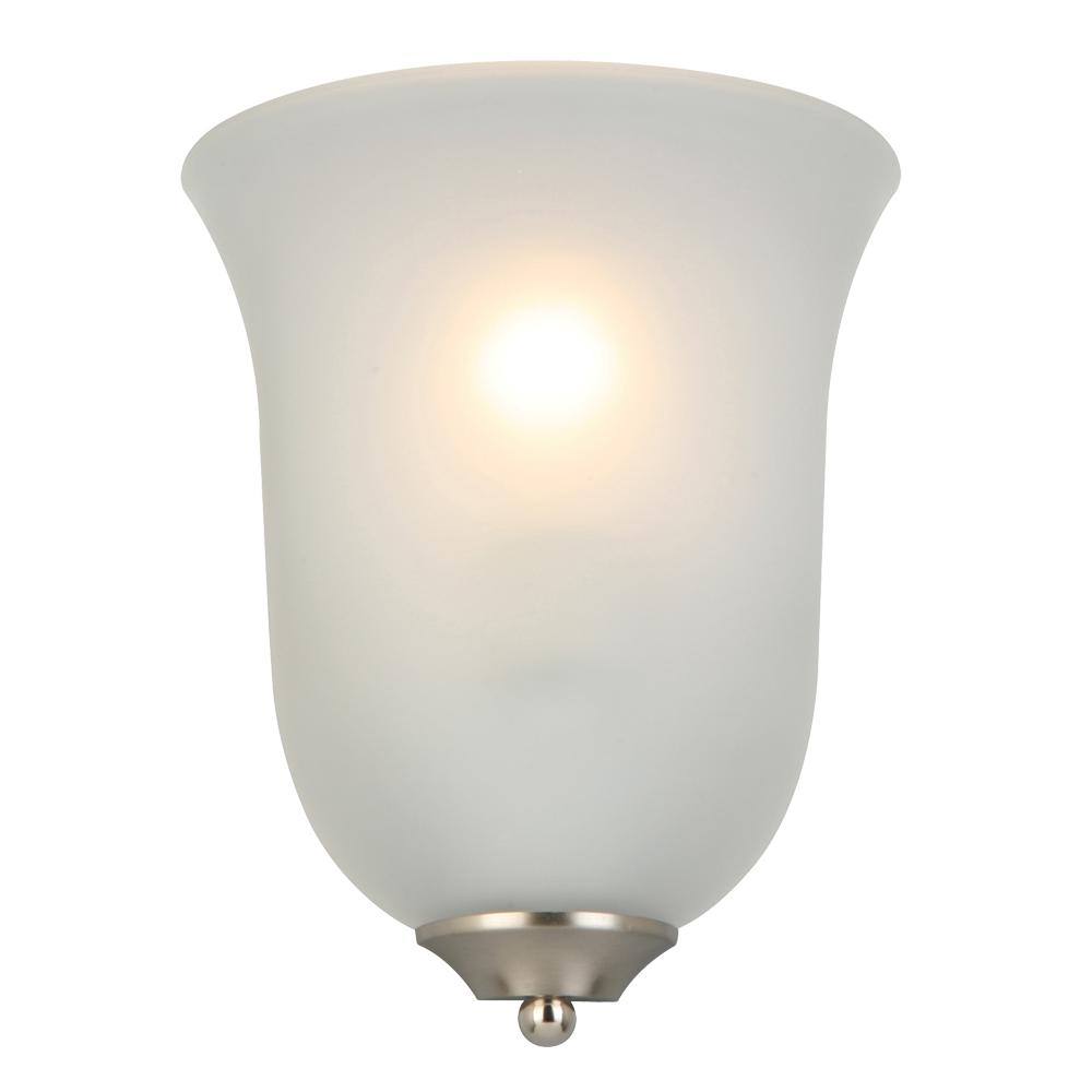 big sale 52b9d 32443 Commercial Electric 1-Light Brushed Nickel Wall Sconce