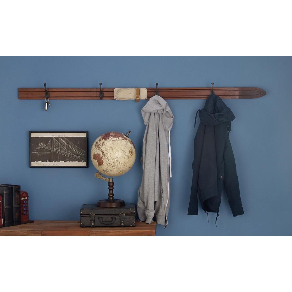 67 in. x 3 in. Rustic Brown Wooden Water Ski Cloth Hook