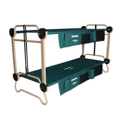 32 in. Green Bunkbable Beds with Leg Extensions and Bed Side Organizers (2-Pack)
