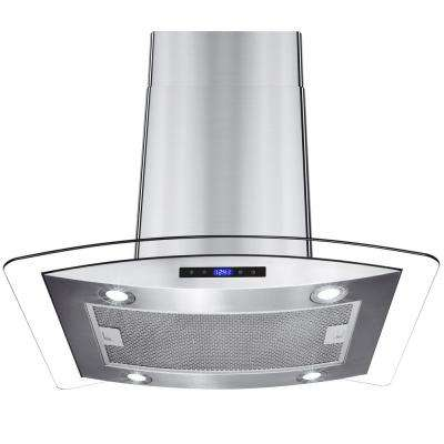 30 in. Convertible Kitchen Island Mount Range Hood in Stainless Steel with Tempered Glass, LEDs and Touch Controls